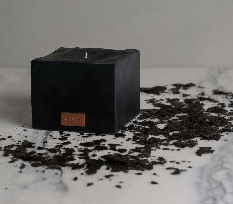 Marble Black Candle